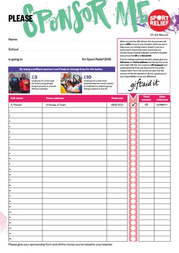 Sport Relief 2018: Sponsorship form