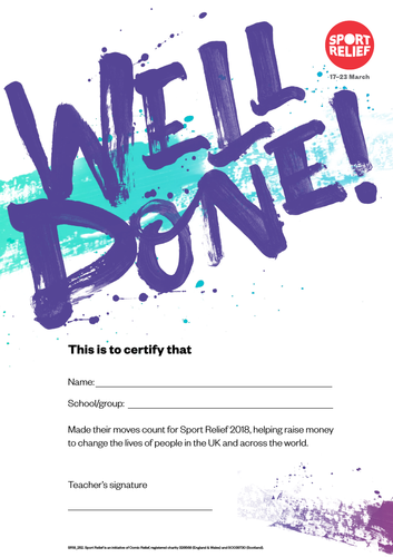 Sport Relief 2018: Well Done certificate