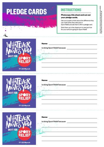 Sport Relief 2018: Pledge Card