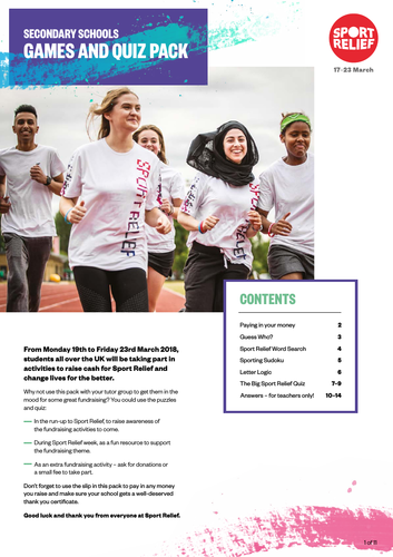 Sport Relief 2018: Secondary Quiz and Games pack