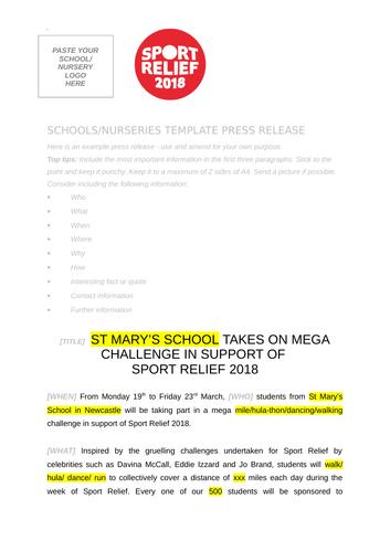 Sport Relief 2018: Press Release template