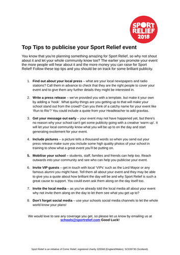 Super sport relief resources for the classroom tes sport relief 2018 top tips stopboris Choice Image