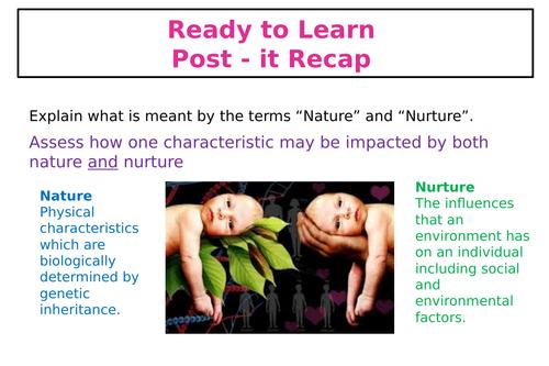 Nature vs Nurture Lesson activities