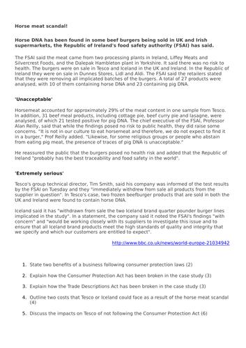Edexcel Pearson GCSE Business (9-1) 2017 1.5.3 Horsemeat Scandal Assessment