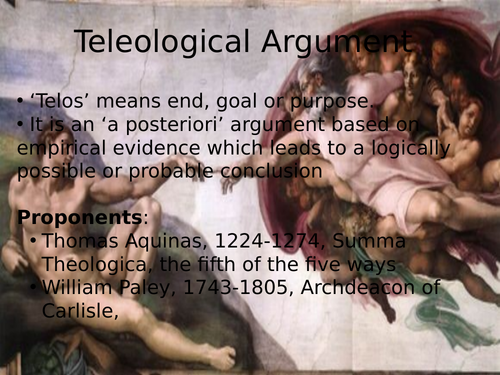 Teleological Argument for A-level, OCR Religious Studies, new spec 2016 onwards