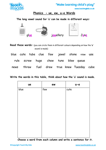 Year 1 Spellings Words Lists - New Curriculum by