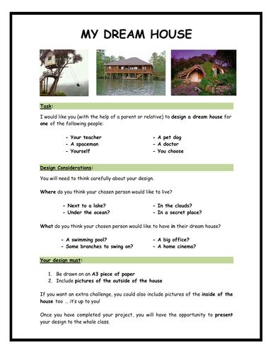 Design a DREAM House, Room Design & Floor Plans - UOW, Homework Project & Class Activities