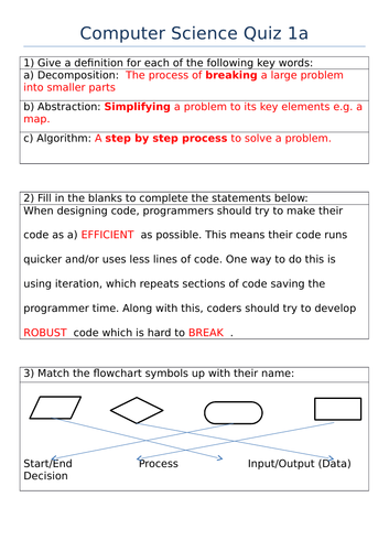 GCSE Computer Science - Computational Thinking and Boolean Logic Quiz Assessments