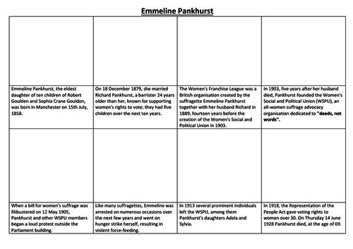 Emmeline Pankhurst Comic Strip and Storyboard