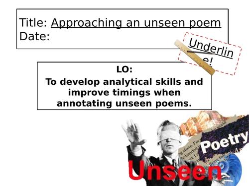 Approaching an unseen poem