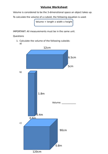 Volume of Solids worksheet