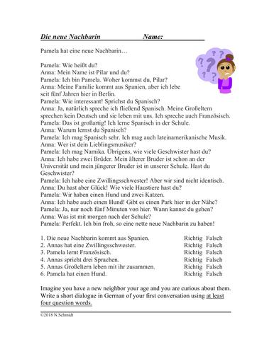 German Question Words Reading: Fragewörter Die Neue Nachbarin Deutsch Lesung