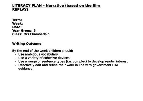 Year 6 Narrative 4 lessons Week 2 (4 way differentiation) based on the film 'Replay'