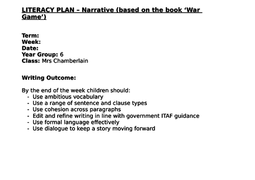 """""""War Game""""  Year 6 Creative Writing 7 Lessons (4 way differentiation)"""