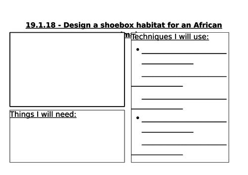 Design sheet for a shoebox habitat and design evaluation