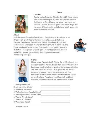 Meine Freunde Lesung - German Reading on Friends (Describing People)