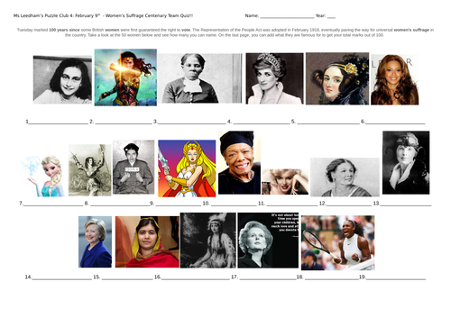 50 famous women team quiz to honour 100 years of suffrage.