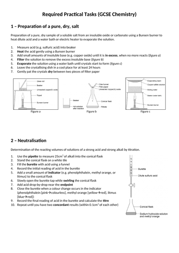 AQA GCSE (9-1) Chemistry Required Practical summary (SEPARATE HIGHER)