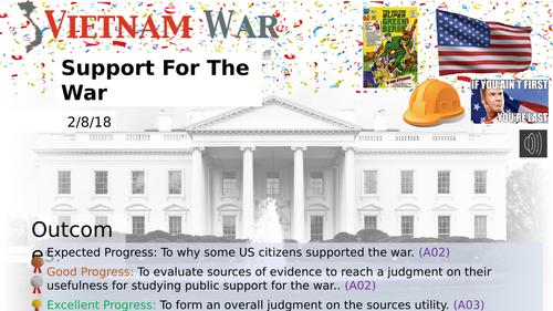 US Public Support for the Vietnam War (Pearson Edexcel GCSE)