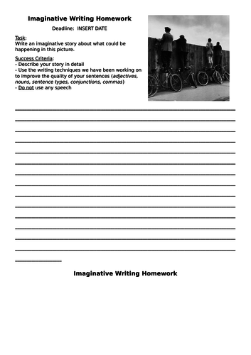 Imaginative Writing Homework (Editable)