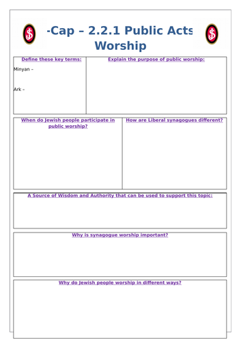 Edexcel 9-1 Judaism Practices Revision Worksheets