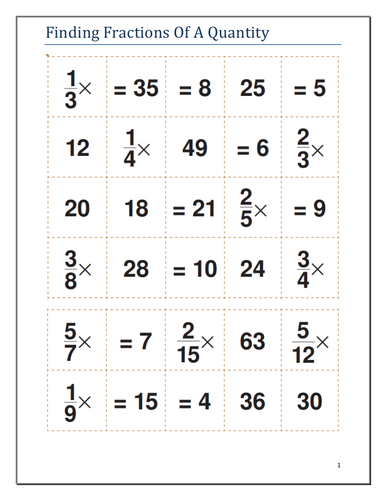 Fractions - Finding fractions of a quantity - Game / Activity