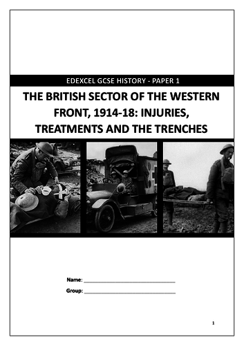 Edexcel GCSE 9-1 History: Medicine on the Western Front revision workbook