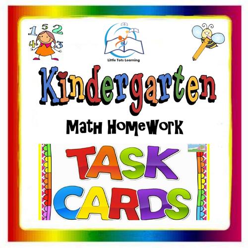 Kindergarten Math Task Cards   Kindergarten Math Homework Task Cards