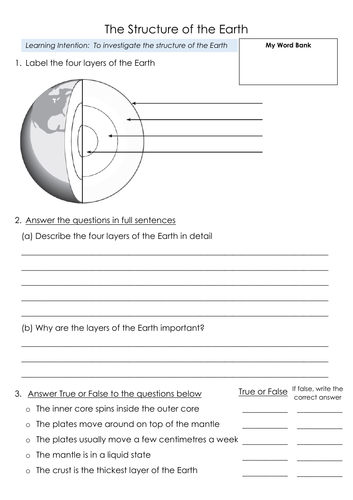 Structure of the Earth (layers) - 3 differentiated worksheets