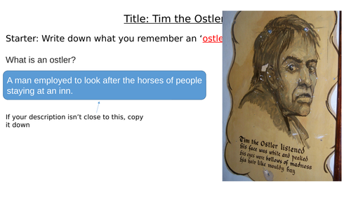 The Highwayman: Tim the Ostler and IMAGERY, Peer Assess and Diary Entry. MEGA few lessons!