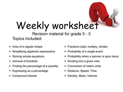 Mathematics GCSE Revision questions grades 3-5