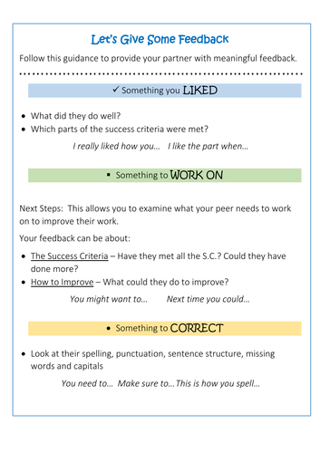 Let's Give Feedback Posters (Peer Assessment Guidance)