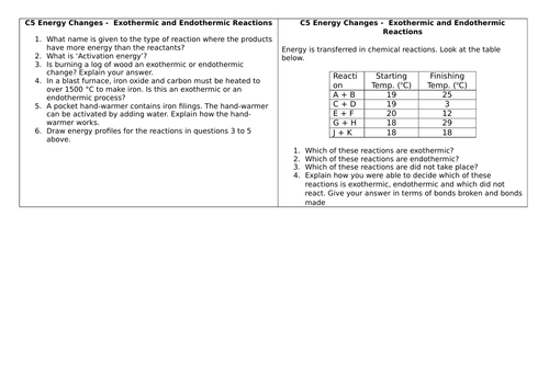 AQA C5 Energy changes revision