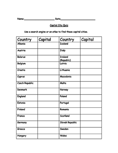 Capital City - Quiz and Answers - Worksheet