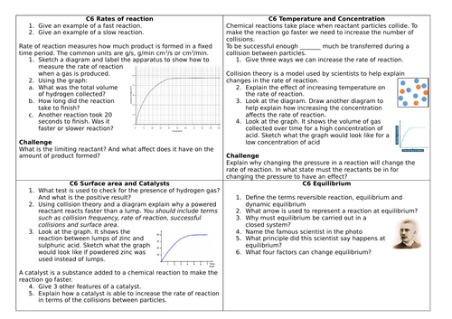 AQA C6 Rate and extent of changes revision