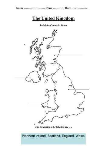 Map of United Kingdom - Label Countries - Worksheet