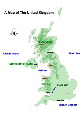 Map Of United Kingdom With Capital Cities Worksheet By Primarylion