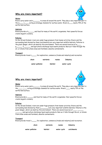 Why Are Rivers Important - Worksheet