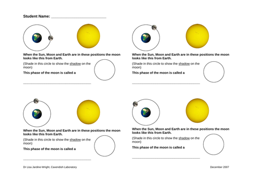 Moon Phases - Worksheet and Answers