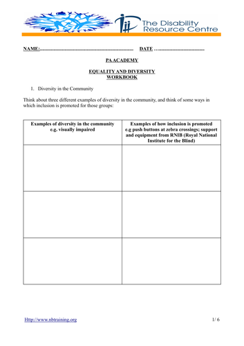 Equality and diversity workbook