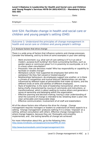 Facilitate change in health and social care: Unit 524, Level 5 Health and Social Care