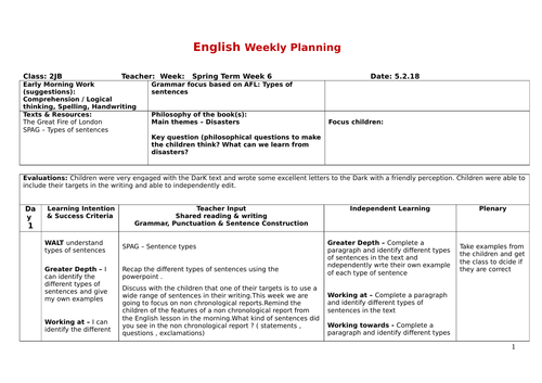 non chronological report planning - Year 2