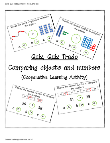 Year1 Quiz, Quiz, Trade Cooperative Learning activity based on comparing numbers and objects to 50