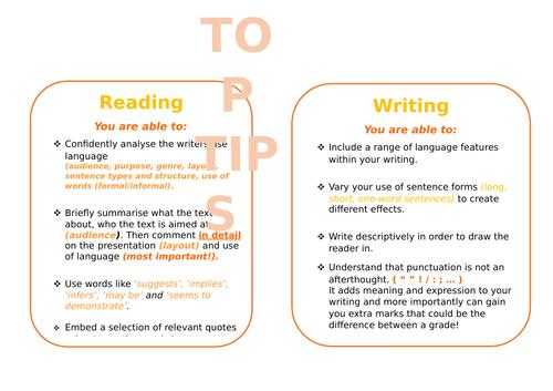 GCSE English Language - TOP TIPS