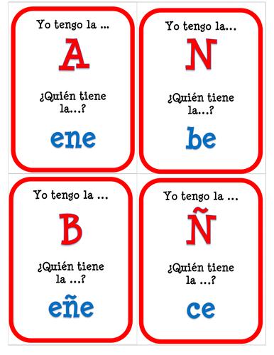 El alfabeto español - ¿Quién tiene? - Card Game