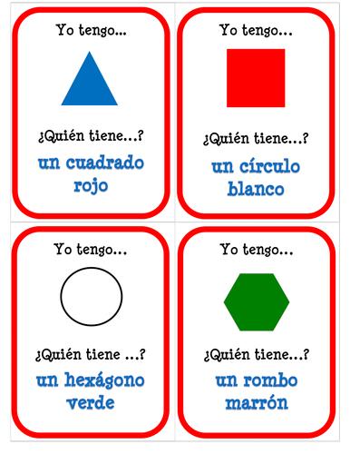 Las formas y los colores - ¿Quién tiene? - Card Game