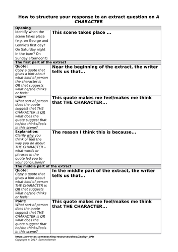 Extract question (lit exam) focused on a character - general planning grid