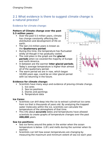 GCSE Geography OCR B - Changing Climate Notes: