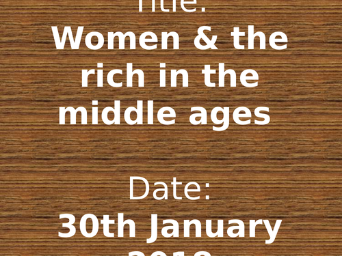 Women and the Rich in the Middle Ages