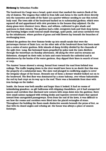 AQA English Language Paper 1 (Birdsong Paper)